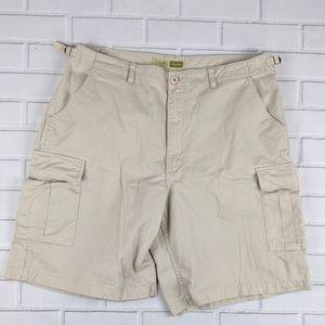 """Cabelas Size 40 BDU 10"""" Cargo Shorts Tan Cotton"""